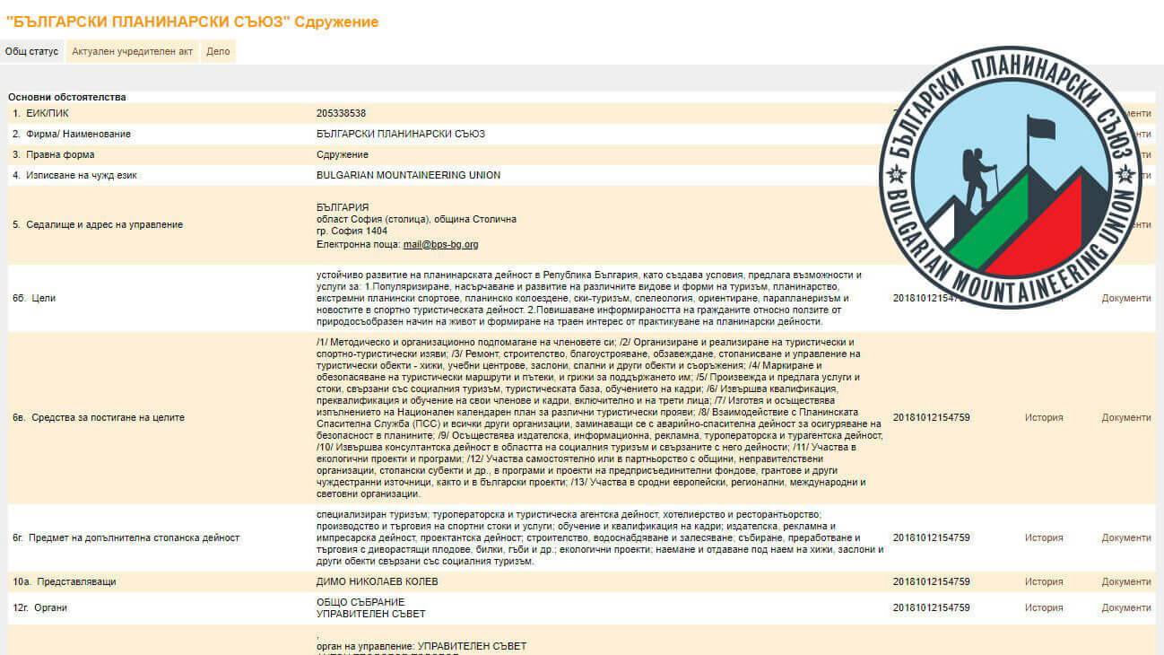 БЪЛГАРСКИ ПЛАНИНАРСКИ СЪЮЗ вече е регистриран